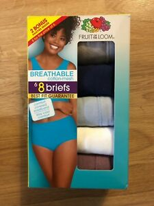 NWT Fruit Of The Loom Womens Size 9/2XLarge Briefs 8-Pack Tagless Breathable