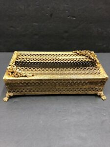 Vintage Mid Century 24K Gold Gilt Plated Tissue Box Holder Matson Style