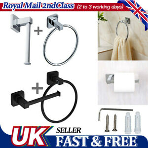 UK Toilet Roll Stand Towel Ring Set Chrome Wall Mounted Bathroom