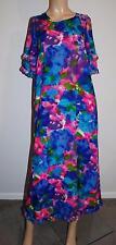 Vtg 1960s 70s McInerny Hawaii Watercolor Ruffled Maxi Dress M L
