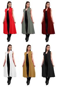 Womens Sleeveless Crepe Long Line Maxi Waistcoat Ladies Open Duster Jacket Top