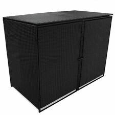 vidaXl Double Wheelie Bin Shed Poly Rattan Wicker Black Garden Dustbin Storage