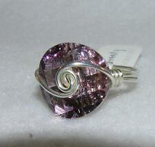 Light Amethyst Crystal Round Sterling Silver Wire-Wrapped Ring Size 7