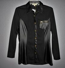 Cecico Long Sleeve Button Front Black Stretch Shirt gold hardwear