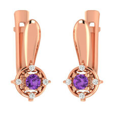 0.25 Ct Round Amethyst Solitaire With Accents Hoop Earrings 14k Rose Gold GP Her