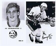 Ken Baumgartner Signed 8x10 1990-91 NY Islanders Press Photo Autograph cbm  COA