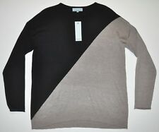 NEW JOAN VASS Women's Black / Stone Heather Sweater 6% Cashmere Sz Large NWT $68