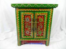 ANTIQUE VINTAGE SMALL CUPBOARD WITH COLOURFUL FENG SHUI ARTWORK,  FROM CHINA