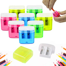 24 Pack Dual Hole Pencil Sharpener Manual Pencil Sharpeners With Lid For School