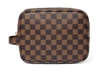 Daisy Rose Luxury Checkered Make Up Bag- Brown PU Leather Vegan Toiletry Bag