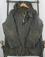 VTG BARBOUR BEAUFORT ENGLAND Size 42 Large Sage Mens Hood Wax Field Jacket Coat