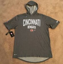 New NIKE NFL Cincinnati BENGALS Gray On Field Hooded Dri-FIT Shirt LARGE Burrow