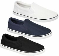 Mens Boys Slip On Fitness Gym Sports Trainers Plimsolls Skater Pumps Shoes Size
