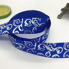 DIY 5yards 1inch 25mm Print Hot Silver Satin Bow Ribbon Hair Sewing Blue
