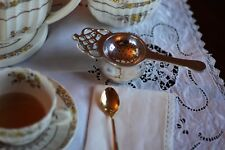 Tea Strainer, Silver Plated w/ Drip Bowl, Antique Reproduction, Knightsbridge