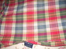 """RALPH LAUREN """"SUNDECK PLAID"""" Full Standard Flat Sheet Red Madras Cotton EUC"""
