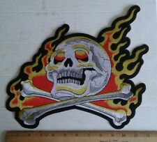 "Skull Crossbones Flames Back Patch Motorcycle Biker Vest Jacket 12""x10"" Iron On"