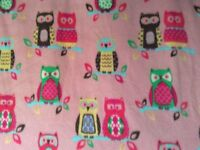 "Colorful Owls animal print on pink fleece fabric, 60""w, sold by the yard"