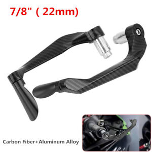 1 Pair Carbon Fiber Motorcycle 22mm Handlebar Brake Clutch Levers Protect Guard
