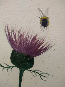 Original watercolour painting.  Little bee and thistle.