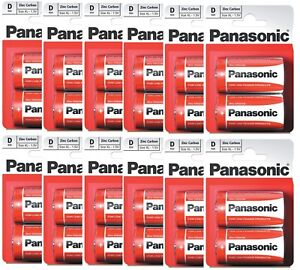 12 Packs Panasonic D Battery 24 Batteries New Zinc Carbon R20 1.5V Exp +2Years