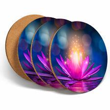 4 Set - Magic Pink Lotus Flower Coasters - Kitchen Drinks Coaster Gift #2066