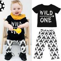 2pcs Enfant Bébé Nouveau-Né T-Shirt Garçon Haut + Pantalon Casual Tenue