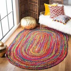 indian cotton oval rug chindi cotton rug door mat multi color rug oval floor rug