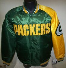 GREEN BAY PACKERS Starter Snap Down Jacket GREEN with YELLOW Trim   M XL 2X