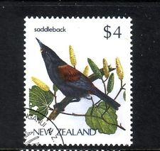 NEW ZEALAND....  1985-89  $4 saddleback bird used