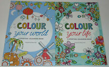 SET OF 2 Christian Adult Spiritual Coloring Books; Colour Your World & Life