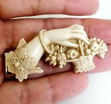Victorian Revival  Hand Flower Basket Resin Plastic Pin Mourning 3D IvoryColor