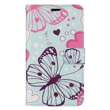 For LG ARISTO MS210 / LV3 - Baby Blue Pink Butterfly Card ID Wallet Case Cover