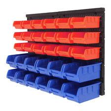 30 Hole Plastic Bins Wall Mount Storage Garage Tools Small Parts Organizer Rack