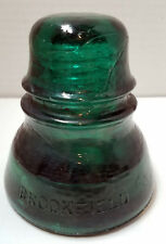 "Antique Brookfield Insulator Emerald Green 3.5"" x 4"""