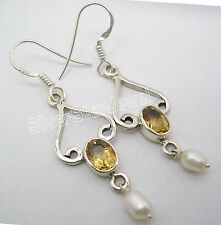 "925 Sterling Silver Natural CITRINE Gem & PEARL Beaded GIRLS' Earrings 1.9"""