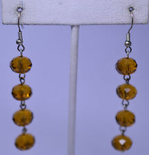 2.75 INCH LONG AMBER-COLORED 10 MM FACETED CRYSTAL BEAD DANGLE PIERCED EARRINGS