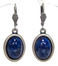 SoHo® Ohrringe Ohrhänger 1960`s vintage böhmisches glas lapis blau altsilber
