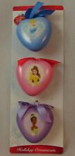 Cinderella Tiana Belle Heart Shaped Disney Princess Christmas Ornament Set