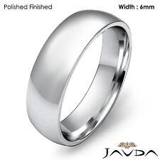 14k Gold White 6mm Light Weight Comfort Men's Wedding Band Dome Ring 6.9g 9-9.75