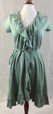 Matilda Jane Sage Green Dress Size Small 4/6 Tie Waist Wrap Ruffle V Neck Soft