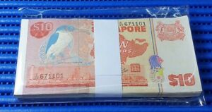 Singapore Bird Series $10 Note C/29 671101-67200 Run Dollar Banknote Currency