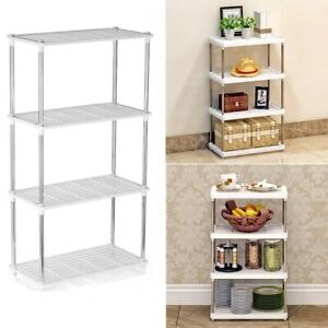 4 Tier Metal Storage Holder Rack Shelf Organizer Shelving Unit Kitchen Bathroom