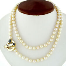 """Vintage 34"""" 7-7.5mm Pearl Strand Necklace 14k Gold Diamond Sapphire Toggle Clasp"""