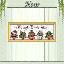 FIVE CHRISTMAS OWLS cross stitch kit 14 ct size 48 x 18 cm BNIP JOY SUNDAY