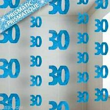 Party Decoration 30th Birthday Glitz Blue Hanging string 1.5m long ea pack of 6