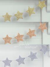 GLITTER STAR WOODEN BUNTING - Luxury Festive Xmas Garland/Hanging Decoration