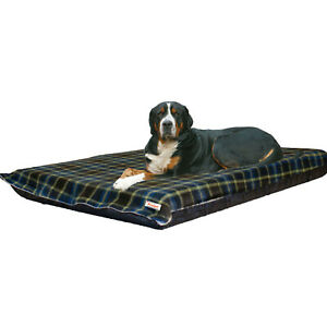 XL Waterproof Dog Bed Mattress, Blue Check Removable Washable Dog Bed Cover