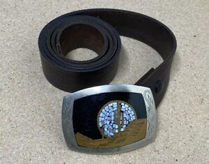 """Vintage Johnson Held Brass Cactus Belt Buckle & 50"""" Leather Belt"""