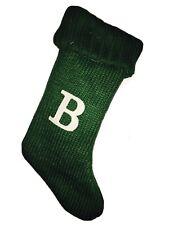 Monogram  Letter B Green Knitted Christmas Stocking